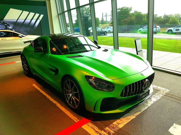 Land Vehicle Car Stationary Racecar Green Color Built Structure Close-up