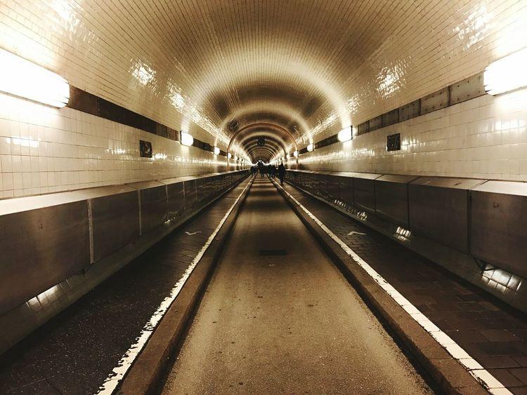 Elbtunnel tourismn Hamburg Tunnel light Architecture Built Structure Underpass