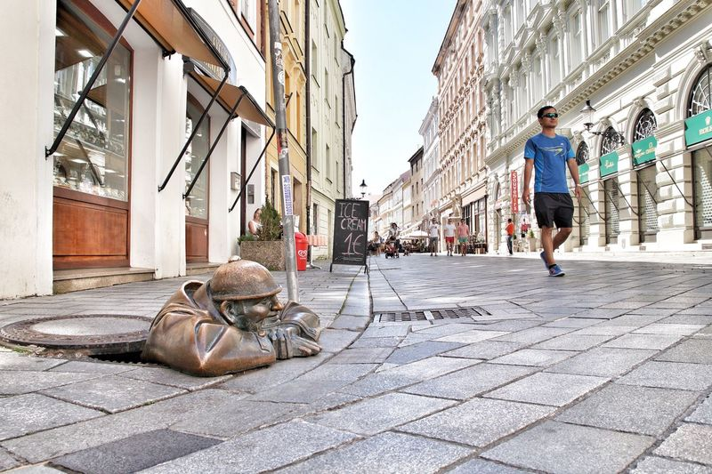 That's Cumil Bratislava, Slovakia Bratislava Cumil Architecture Built Structure Building Exterior City Street Day Full Length One Person Men Real People Rear View Outdoors Lifestyles