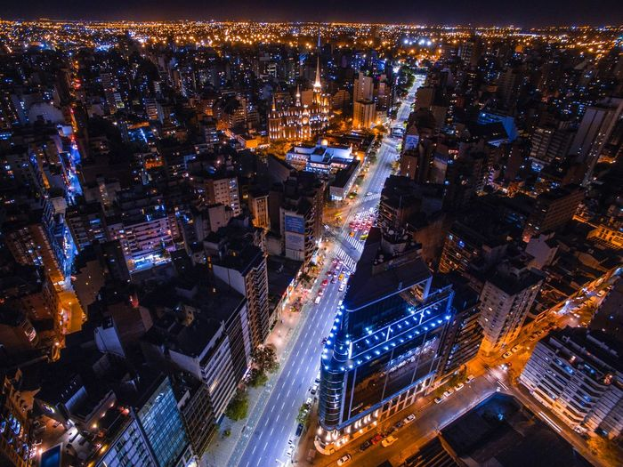 City Illuminated Building Exterior Architecture Night Built Structure Cityscape Aerial View High Angle View City Life Transportation Road City Street Office Building Exterior Modern Highway Crowded Building Street Lighting Equipment