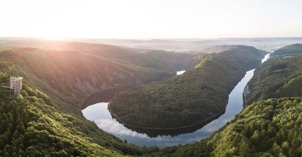 Deutschland Morning Saarschleife Sunset_collection Baumwipfelpfad Beauty In Nature Day Germany Landscape Mountain Nature No People Outdoors Platform River Saarland Scenics Sky Sunset Tranquil Scene Tranquility Tree