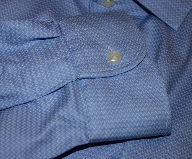 Aermel Baumwolle Blau Business Causal Close-up Cotton Design Hemd Knopf Manschetten Manschettenknöpfe No People Pattern Shirt Sleeve  Textile Textured  Textures Wool