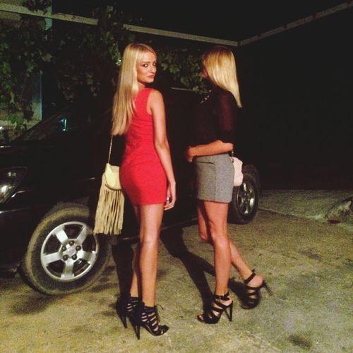 Blonde People Nightout Girls Hanging Out Taking Photos