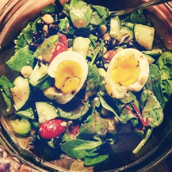 My salad is actually in a mixing bowl because I just kept adding more ingredients. Note the nearly perfect soft boiled egg happening. Glutenfree Vegetarian Yum Eatclean Veg EATGREEN