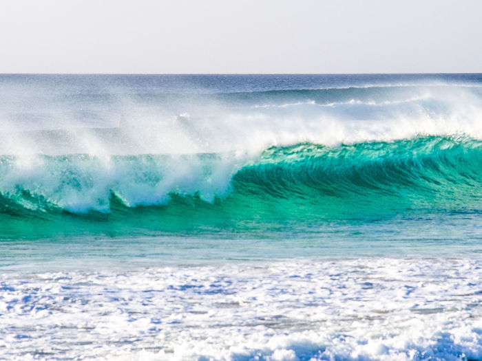 Breaking surf, Ponta Preta, Sal Island, Cabo Verde Sea Wave Horizon Over Water Beauty In Nature Turquoise Colored