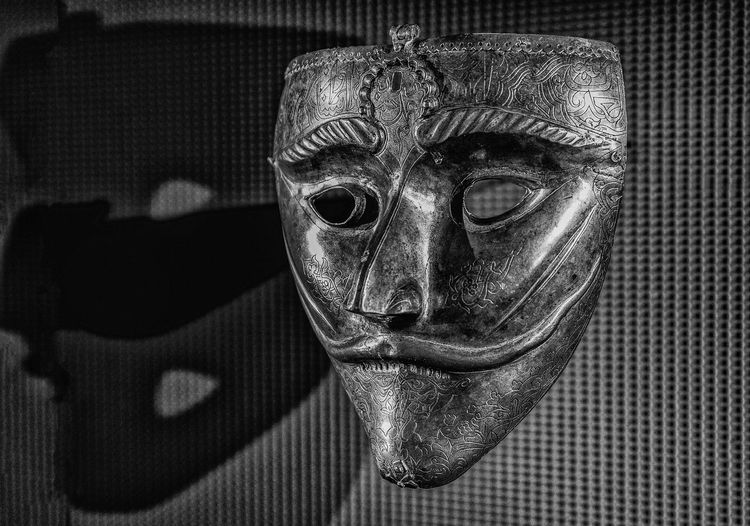 The Mask of Ancient Warrior Portrait Close-up Indoors  Headshot One Person Human Body Part Looking At Camera Shadow Pattern Digital Composite Human Face Front View