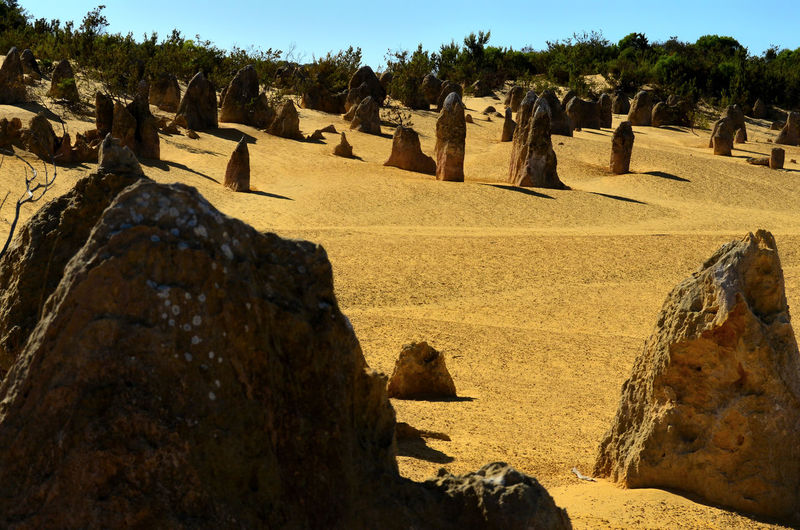 Panoramic view of rocks in sunlight