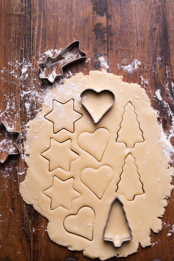 Cookie Christmas Cookies Baking Sheet Celebration Christmas Christmas Tree Close Up Close-up Cookie Dough Food Food And Drink Foodphotography Freshness Heart Heart Shape Indoors  No People Pastry Pastry Cutter Shape Star Sweet Food Table Tree Wood - Material