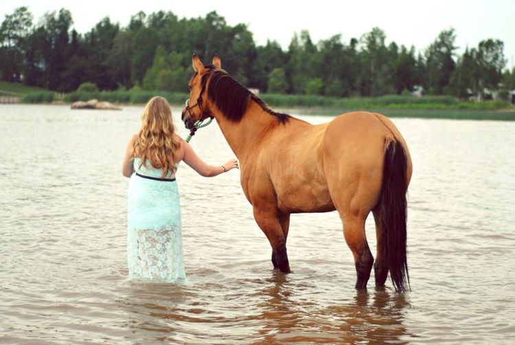 Woman With Horse In River