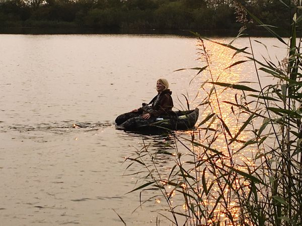 Bellyboat Fishing Water Real People Nature Sitting Outdoors One Person Day