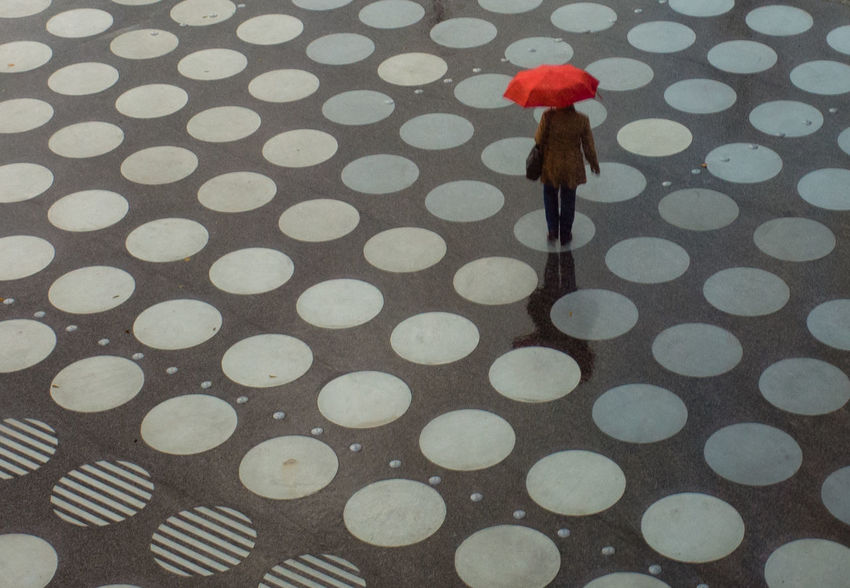 Circles Day Low Section One Person Outdoors Pattern Protection Rain Real People Red Color Wet Dont Be Square Be. Ready.