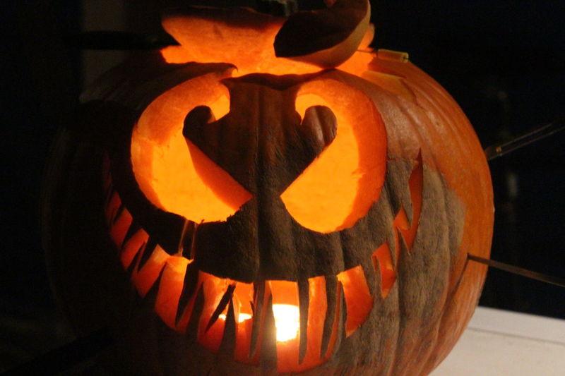 Anthropomorphic Face Celebration Cultures Distinct Shape Halloween Holiday - Event Jack O Lantern Night No People Orange Glow Outdoors Pumpkin Safety Tradition Warm Glow Warm Glows