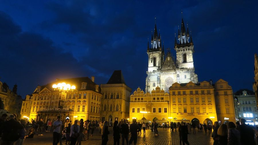 Church of Our Lady Before Tyn - at night Religious Architecture Architecture Building Exterior Built Structure Night Illuminated Building Large Group Of People Travel Destinations Sky Tourism History City