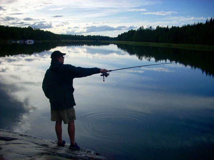 Rear View Full Length Of Man Fishing At Lake