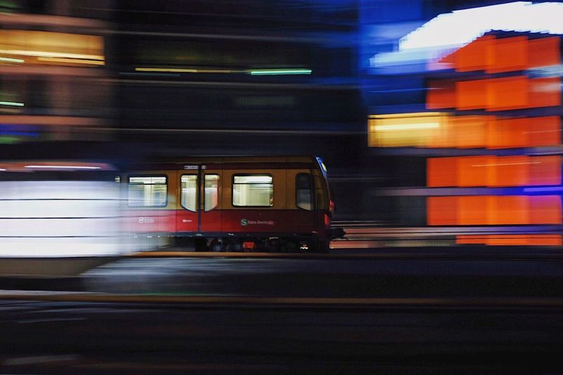 Blurred motion of car at night