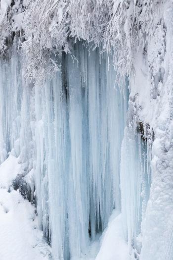 Panoramic shot of frozen land