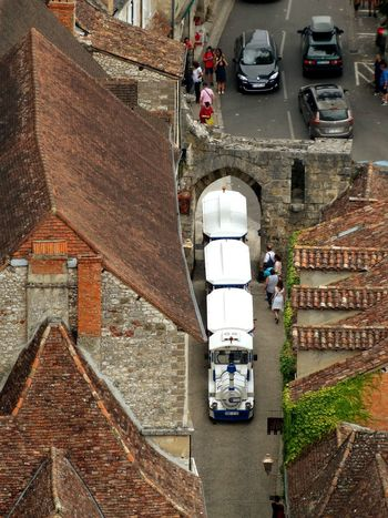 Tourist train Street Vehicle A Bird's Eye View From My Point Of View France Outdoors Transportation Road Train Relax High Angle View Elevated Angle Tourist Train Rocamadour Lot From My Point If View