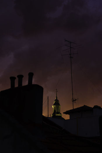 Architecture Building Exterior Built Structure Church Tower Clouds Clouds And Sky Dramatic Sky Night No People Outdoors Purple Silhouette Sky Skyline Storm Sunset
