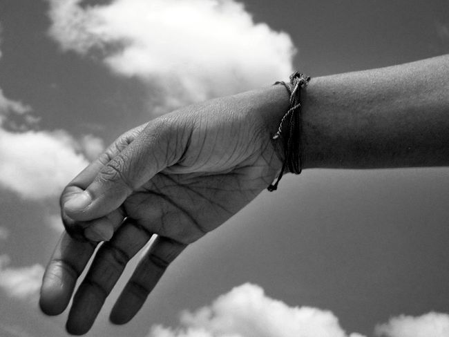Hold ma hand...., Abstract Black And White Light And Shadow Quiet Moments Close Up Hello World B N W Open Edit Still Life Monochrome Monochrome Photography Close Up Photography Drastic Edit Street Photography Hand Clouds And Sky EyeEm New Here Welcome To Black Art Is Everywhere