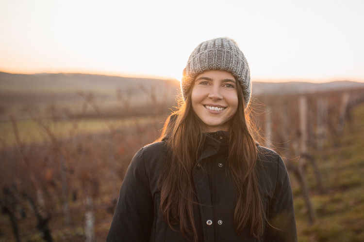 Adult Against The Light Autumn Beauty Beauty In Nature Females Girl Smiling Gold Golden Hour Happiness Happiness Happy Hipster - Person Knit Hat Looking At Camera Nature Portrait Smile Smiling Sunest Sunset Warm Clothing Winter Women Young Women