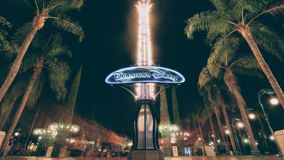 Disneyland Arts Culture And Entertainment No People Nightlife Travel Vacations Disney Low Angle View Tree Sky Low Angle View Night Illuminated Lighting Equipment Outdoors Carousel