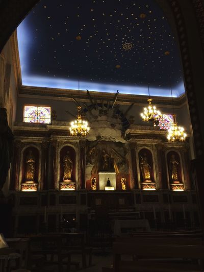 Illuminated Architecture Night Window Lighting Equipment Built Structure Indoors  Low Angle View Arch Electric Light (null)Sky Interiors Place Of Worship No People Stars