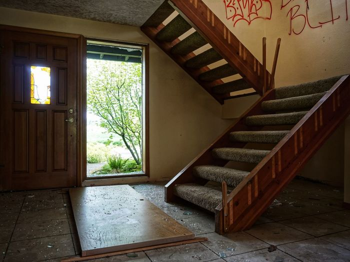 Abandoned Broken Window Broken Glass Abandoned Places Modern House Stairs Staircase Home Interior Window Steps And Staircases Staircase Steps House Architecture Built Structure Entryway Damaged Run-down