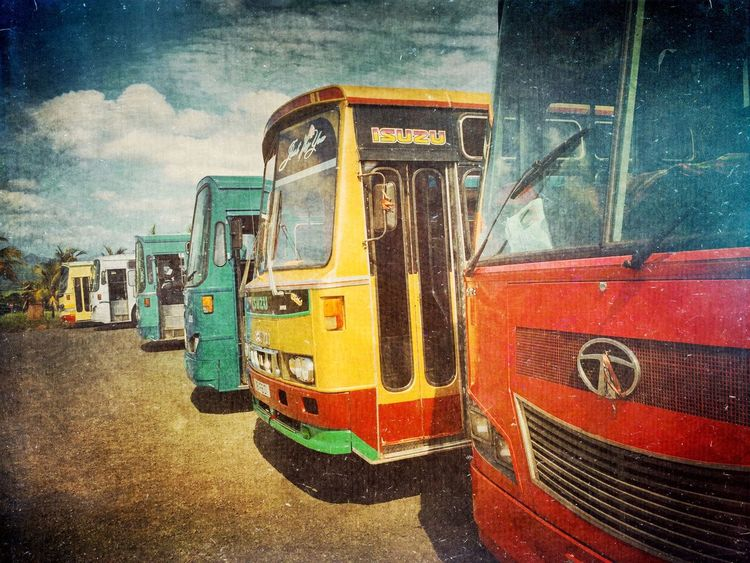 Colored buses Mauritius Streetphoto_color IPhoneography Iphoneonly Bus Vintage AMPt_community Travel Photography Colour Of Life