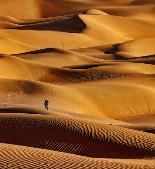 Person on sand dune in desert