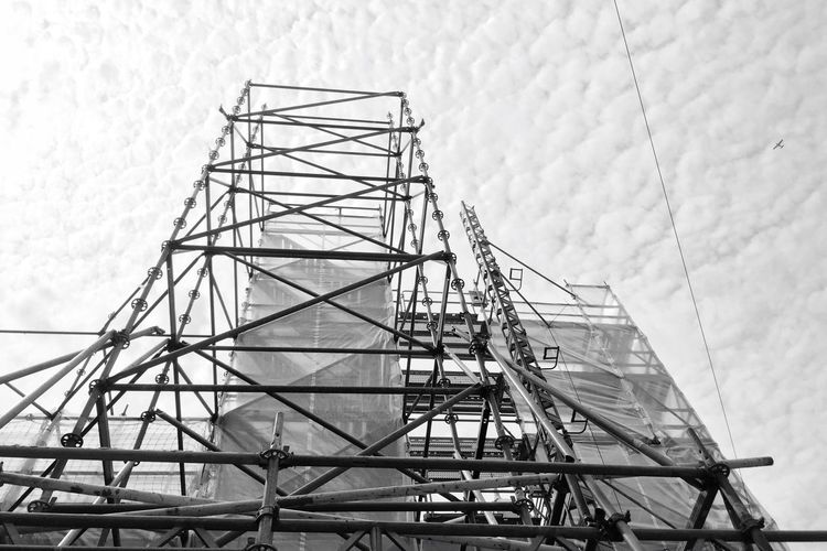 Low Angle View Of Scaffolding Against Sky