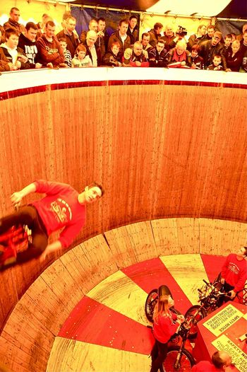 Photography In Motion Wall Of Death Danger Daredevil Living On The Edge Living Dangerously Motorcycle Motorbike Indian Red And Yellow Motor Show Safety First Need For Speed