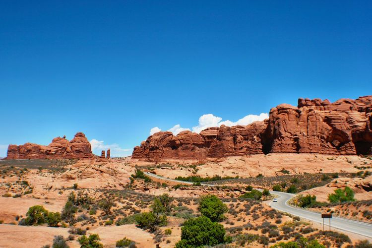 Scenic view of rock formations at arches national park