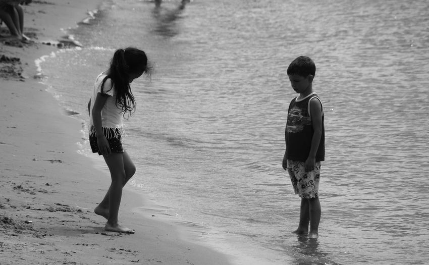 Testing Real People Summertime Sunbathing Blackandwhite Monochrome Swimming Water Child Full Length Childhood Togetherness Boys Girls Friendship Happiness Sibling Shore Sand Sandy Beach Beach