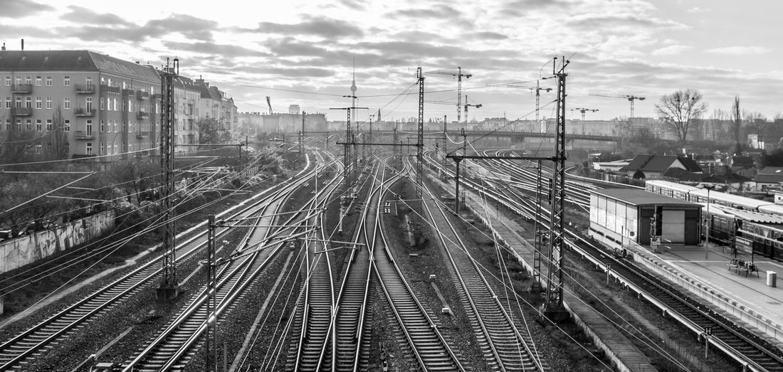 High Angle View Of Railroad Tracks In City