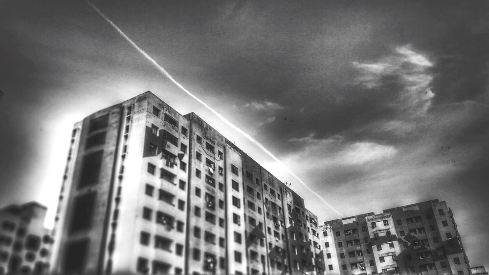 Black and white Building Exterior Architecture Built Structure City Sky Low Angle View No People Modern Outdoors Day Cloud - Sky