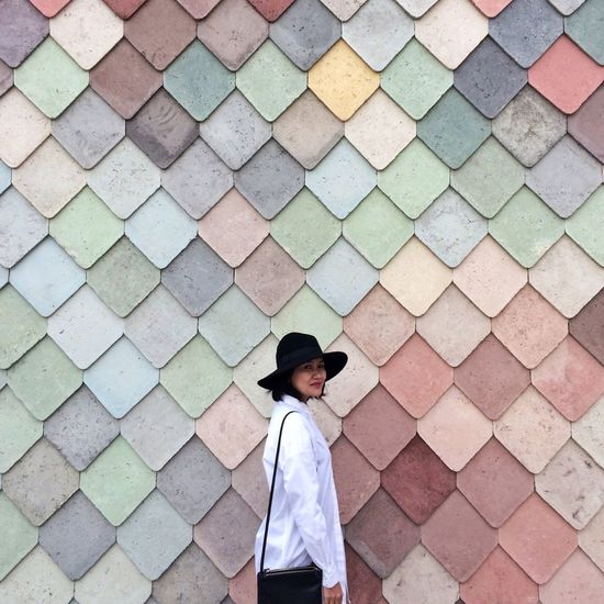 One Person Sugarhousestudios Architecture Façade Pastel Tiles Looking Down Real People Day People Portrait Girl Woman