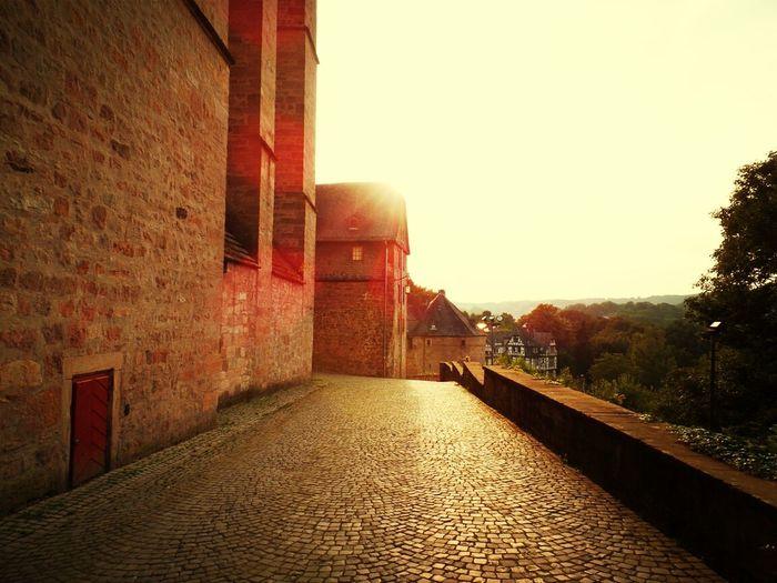 Narrow walkway along walls