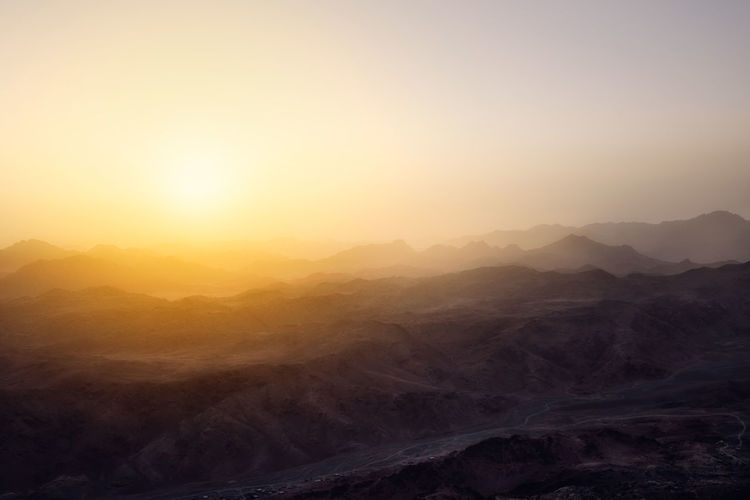 Egyptian mountains and  view from mount sinai with sunrise. holly land of egypt.