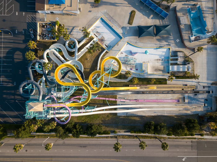 Overhead view of Splash Kingdom Water Park in Redlands, CA. Day Transportation Mode Of Transportation Built Structure Water Park Water Slide Theme Park Swimming Closed Abandoned Summer Sunset Park Colors California Overhead View Top Down View Pools