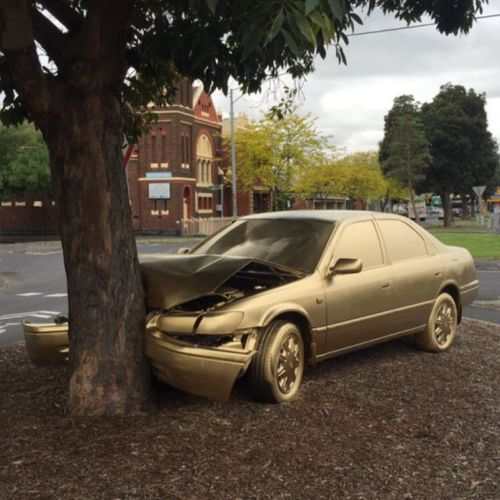 This Is Gold Abandoned Car Streetart painted gold by anonymous ... Only In Melbourne