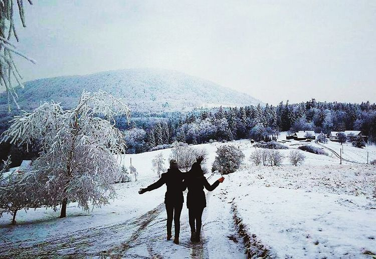 Oldphoto Memories Friends Cold Temperature Nature Snow
