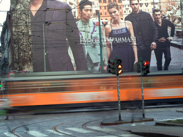 Armani Bill City Fashion Full Length Light Trails Long Exposure Long Train Running Milan Milano Milanocity Mode Of Transport Motion On The Move Outdoors Poster Public Transport Road Street Night Traffic Light  Traffic Signal Tram Tram Line Tram Tracks Transportation