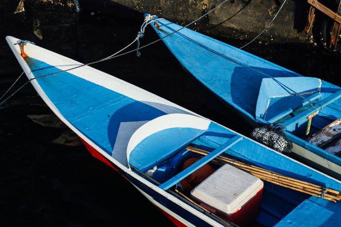 ASIA Banda Blue Boat Boats Day High Angle View INDONESIA Mode Of Transport Nautical Vessel No People Outdoors Reflection Rope Sea Transportation Travel Water