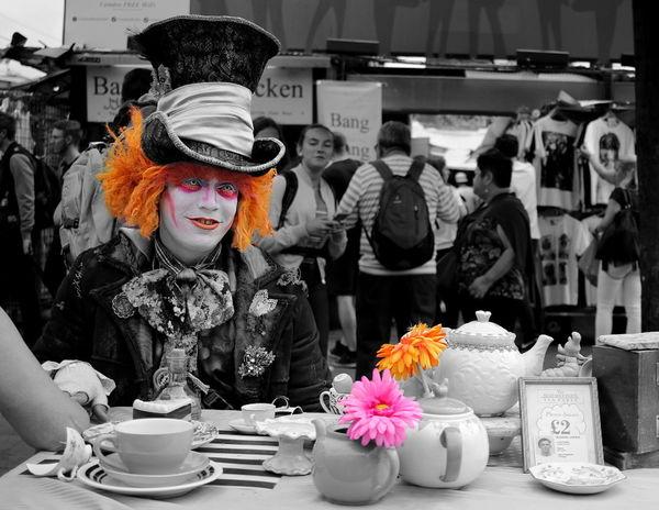 Abundance Alice In Wonderland Arrangement Camden Market, London Camden Town Casual Clothing Hat Hatter Leisure Activity Lifestyles Market Market Stall Má Sitting