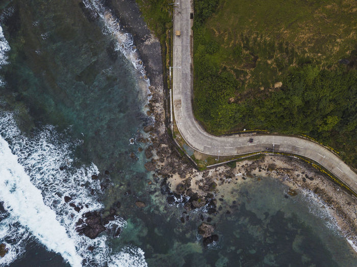 Aerial view of road by sea