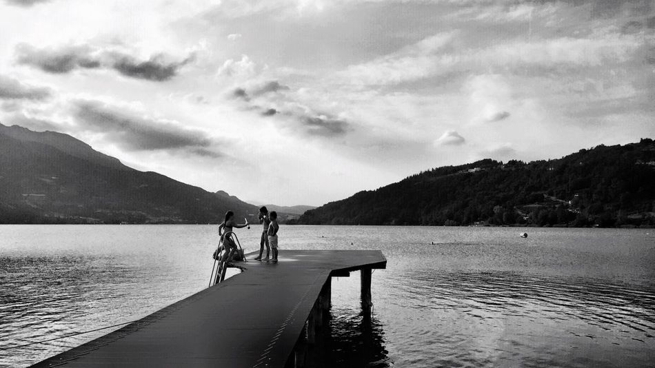 Kids Playing Swimming Lake Mountain Mole Blackandwhite Highcontrast