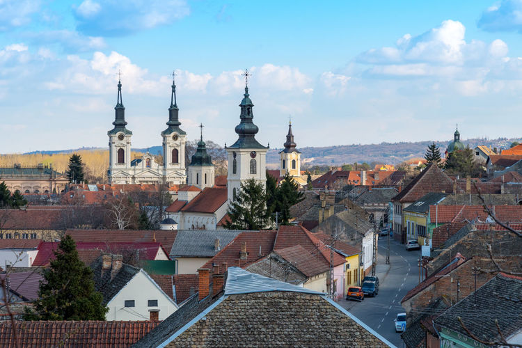 Architecture Built Structure Building Exterior Building Sky Roof City Cloud - Sky Religion Residential District Spirituality Belief Nature High Angle View Town Day Cityscape No People Outdoors Spire  TOWNSCAPE Historical Sremski Karlovci Europe