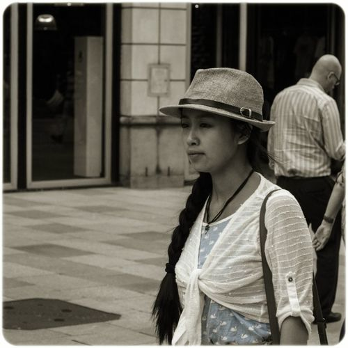 Blue dress Hanging Out Street Photography The Street Photographer - 2016 EyeEm Awards Cardiff City Centre Cardiff Wales Uk Blue Black And White Photography Desaturated