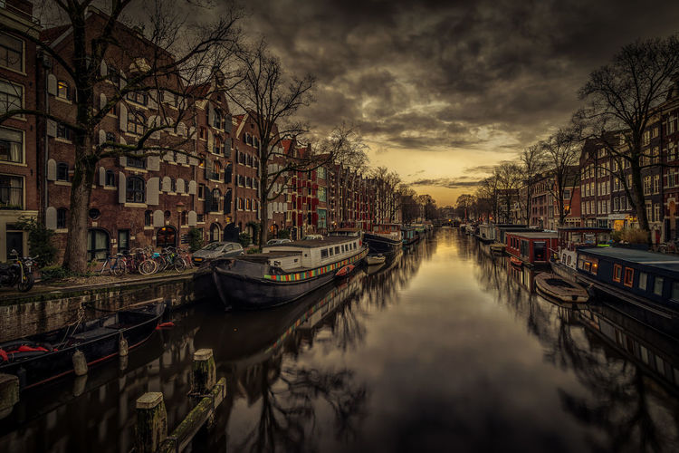 Amsterdam Architecture Brouwersgracht Canal Canals City Day Dusk Gondola - Traditional Boat Houseboats In A Row Houseboats In Amsterdam Nautical Vessel No People Outdoors Reflection Sky Sunset Transportation Tree Water