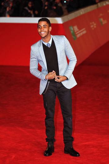 Rome, Italy - October 13, 2016. Red Carpet of the film Moonlight with actor Jharrel Jerome. Adult Adults Only Business Finance And Industry Ff Indoors  Jharrel Jerome Men Moonlight Film One Man Only One Person Only Men Red Rome Ff11 Rome Film Fest Smiling Young Adult